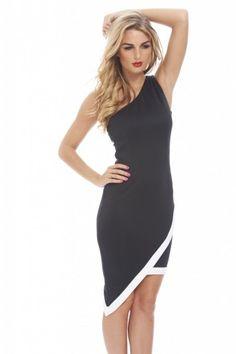 759a54c506c One shoulder scuba contrast dress -axparis.com Street Outfit