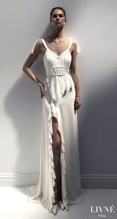 Livné White 2019 Wedding Dress - Eden Bridal Collection - Gloria | Simple and Unique wedding gown | Boho bridal gown | #weddingdress #weddingdresses #bridalgown #bridal #weddinggown #bridetobe #weddings #bride #weddinginspiration #weddingideas #boho #bohochic #bohostyle #dress See more gorgeous wedding gowns by clicking on the photo