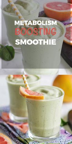 A Metabolism Boosting Smoothie, packed with ingredients that have been proven to have a positive effect on a healthy metabolism. Smoothies are often packed with sugar from using juices, too much fruit, or added sweeteners. This grapefruit smoothie is a me Grapefruit Smoothie, Smoothie Fruit, Smoothie Detox, Healthy Smoothies, Healthy Drinks, Healthy Snacks, Diet Drinks, Lunch Smoothie, Macha Smoothie