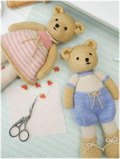 New 2 Teddy Bear Knitting Pattern Deal/ por maryjanestearoom