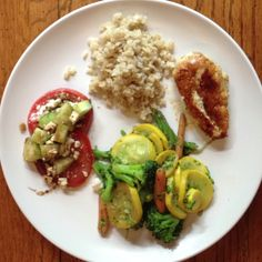 Gluten Free Meal idea....Organic Chicken, Brown Rice, Organic Steamed Veggies, Sliced Organic Tomatoes, Cucumber with Feta Cheese and Balsamic Vinegar.