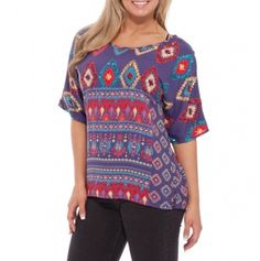 Short Sleeve Aztec Print Top