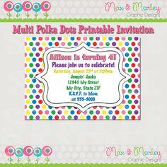Polka Dots birthday invitation  Multicolored by MaxMarleyGraphics