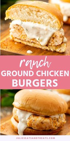 Easy Ground Chicken Burgers flavored with ranch are delicious and a quick and easy dinner recipe! Mix up your burger routine and make chicken burgers tonight! Don't forget that butter bun. It's delicious! Chicken Ranch Burgers, Ground Chicken Burgers, Beef Burgers, Homemade Chicken Burgers, Ground Chicken Recipes Easy, Grilled Chicken Recipes, Easy Holiday Recipes, Easy Dinner Recipes, Dinner Ideas