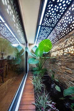 garden architecture dining room atrium with laser cut roof and stone wall water feature Outdoor Areas, Outdoor Rooms, Outdoor Living, Screen Plants, Small Courtyards, Garden Architecture, Fence Screening, Interior Garden, Landscape Design