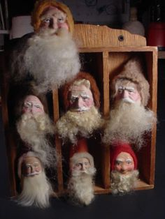 ANTIQUE GERMAN ORNAMENTS | Antique German Style Seven Santa Ornaments Norma Decamp Clearance ...