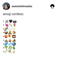 Image may contain: text that says 'sweetiethreadss emoji combos:' Instagram Captions For Selfies, Cute Instagram Captions, Selfie Captions, Instagram Emoji, Instagram And Snapchat, Instagram Quotes, Emoji Kawaii, Funny Emoji Combinations, Beste Emoji