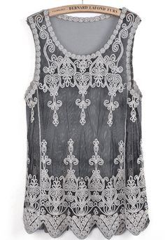 Black Sleeveless Hollow Embroidered Lace Vest EUR€15.13