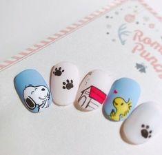 Cartoon Nail Designs, Nail Art Designs Videos, Nail Art Diy, Diy Nails, Snoopy Nails, Disney Inspired Nails, Tie Dye Nails, Nail Drawing, Korean Nails