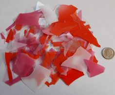"Bullseye ""Sweetheart Mix"" Clear Crystal Red Pink White Opal Confetti Glass Chips #Bullseye"