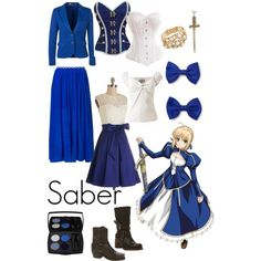 Casual cosplay of Saber (from Fate/Stay Night or Fate Zero anime series)-- character inspired outfit