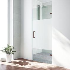 VIGO SoHo 28-in to 28.5-in W Frameless Oil Rubbed Bronze Hinged Shower Door