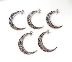 5 Antique Silver Crescent Moon Charm/Connectors by TreeChild1