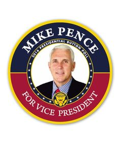 Mike Pence for Vice President Button 3 inch diameter button Made in USA Buy any 10 or more political buttons and save with our Mix & Match quantity pricing. The more you buy, the more you save! This i