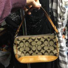 Authentic Coach Signature Cs Leather Shoulder Bag Tan canvas C print with leather strap and bottom. AUTHENTIC Coach Bags Shoulder Bags