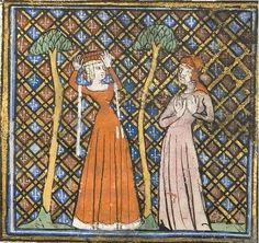 Le Roman de la Rose (University of Chicago Library ), c. Medieval Party, Medieval Costume, Medieval Dress, Medieval Fashion, Medieval Clothing, Historical Clothing, Medieval Manuscript, Illuminated Manuscript, Renaissance