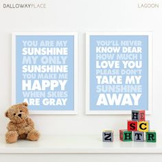 You are my Sunshine - Baby Boy Nursery Art Prints Baby Nursery Decor by DallowayPlace
