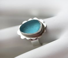 English Sea Glass Ring / Turquoise Seaglass/ by modesteparisienne