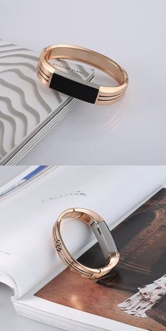 BAYITE JEWELRY BANGLE BRACELET/ BAND FOR FITBIT ALTA UNADJUSTABLE – ROSE GOLD WITH LINE