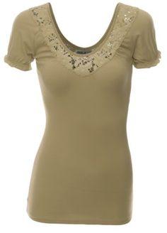 Women Shirring Shorts Sleeve Lace Neckline Slim Fit Top