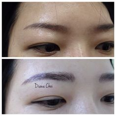 Love her brows ❤️ Semipermanent eyebrows tattoo. It's the newest style of eyebrows tattoo calls 3D tattoo/ hair stroke tattoo.  Korean style eyebrows/ covered customer's old eyebrows tattoo