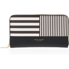 Henri Bendel Centennial Stripe Zip Around Continental Wallet (1 560 SEK) ❤ liked on Polyvore featuring bags, wallets, coin pouch, zip coin purse, coin purse, change purse wallet and zip wallet
