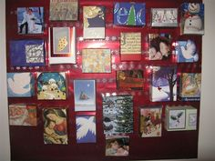 Advent Calendar made out of Holiday Cards received