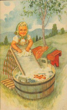 Postkort Barnemotiv Erling Nielsen brukt 1940-tallet Norsk arbeide
