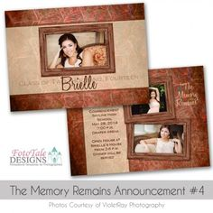 The Memory Remains Graduation Announcement No. 4 by photo card template for photographers and designers - Graduation Announcement Template, Graduation Templates, Graduation Announcements, 4 Photos, Photo Cards, Photographers, Designers, Photoshop, Memories
