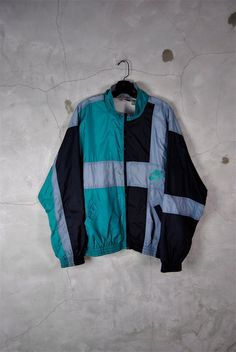 mens vintage, 1980's - 1990's NIKE AIR windbreaker track jacket, teal, black, grey, zip down, large