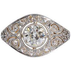 Art Deco Wide Old European Cut Diamond Gold Platinum Filigree Engagement Ring