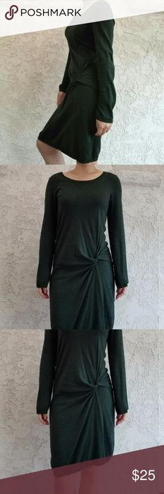 """Forest Green Twist Knot Long Sleeve Sweater Dress True evergreen color. Chic side knot & light warmth translates well from day to night. This is a wardrobe MVP. Went out for dinner w/ friends, aced my first job interview, graced holiday parties, even styled myself as Peter Pan for Halloween- all in this sweater dress. Now it's time to pass on the love & magical versatility of this piece to someone new!   No tears/stains/odors/pets. Note: subtle, uniform piling. Chest: 17"""", waist: 15.5""""…"""