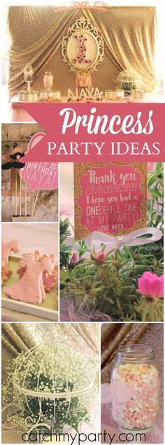 Love this gold & pink party with lots of tutus & sparkle! See more party ideas at CatchMyParty.com!