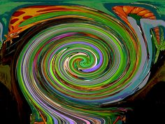 This abstract spiral image originated as a Mardi Gras float in the Crewe of Columbus parade in Mobile, Alabama during the 2013 Carnival season. The original image is a depiction of George of the Jungle. In the upper left corner you can still see the eyes of the long-necked giraffe that was a jungle creature on the float. Find this image and more for sale at www.marian-bell.artistwebsites.com    and at www.fineartamerica.com/shop/marian-bell.html