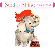 Vintage Digital Clipart - Elephant - Cute Animal Clip Art Instant Download Printable Image Personal and Commercial Use
