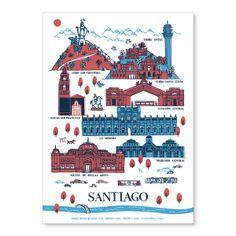 Poster Santiago Patrimonial Rojo/Azul