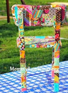 Unique Decoupage Furniture Projects Fabric Scraps Don't throw those scraps in the garbage - patchwork a child's chair instead.Fabric Scraps Don't throw those scraps in the garbage - patchwork a child's chair instead. Funky Furniture, Repurposed Furniture, Furniture Projects, Painted Furniture, Furniture Stores, Timber Furniture, Luxury Furniture, Vintage Furniture, Furniture Design