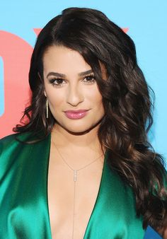 Lea Michele's curled hair and glossy pink pout