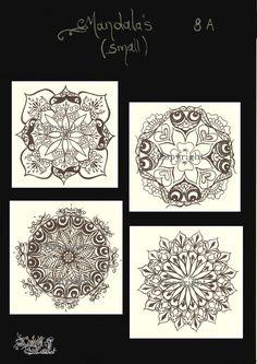31dbfbc11574c Mandala, (8A) (small),Henna, Jagua Stencil Tattoo Carbon Thermal