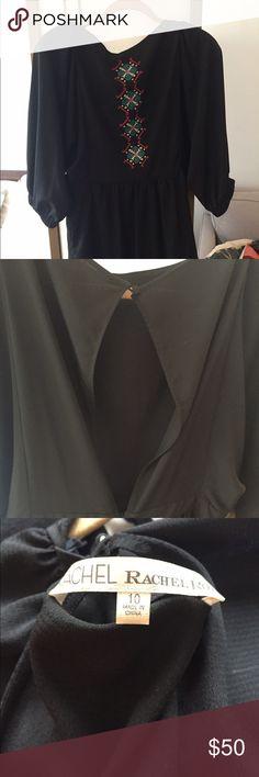 Rachel Roy Black dress with pattern Loose sleeves, slightly open back. RACHEL Rachel Roy Dresses Mini