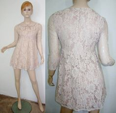 Sparrow Bird Label Nude Floral Lace Peter Pan Collar 3/4 Sleeve Shift Dress S...http://stores.shop.ebay.com/vintagefluxed