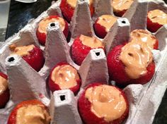 Pudding shots in strawberries!
