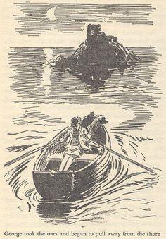 Children's Book Illustration, Book Illustrations, Enid Blyton Books, Native Child, Corfe Castle, Book Challenge, Bible For Kids, Black And White Drawing, Treasure Island