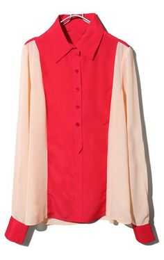 Red Nude Lapel Long Sleeve Buttons Chiffon Blouse