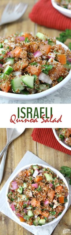 This Israeli Quinoa Salad makes a healthy salad recipe for lunch or dinner and is filled with flavor and nutrition from quinoa mixed with Israeli salad veggies.
