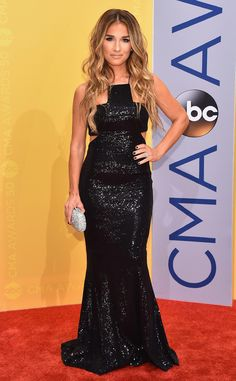 Jessie James Decker from CMA Awards 2016 Red Carpet Arrivals  The country singer and fashion designer looks like a million bucks in her sparkling black dress.