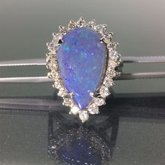 18k White gold Natural Australian Solid Black Opal VS Diamond Pear ring 8.19ctw #CocktailCluster