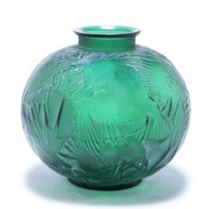 René Lalique  'Poisson' a Vase, design 1921  green glass, frosted, polished and heightened with white staining  23.5cm high, engraved and moulded 'R. Lalique'