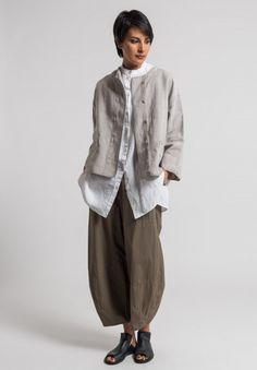 Oska (Linen Talida Jacket in Natural) Santa Fe Dry Goods & Workshop (wide leg pant) Look Fashion, Spring Fashion, Fashion Outfits, Womens Fashion, Fashion Design, Fashion Clothes, Jackets Fashion, Indian Fashion, Mode Style