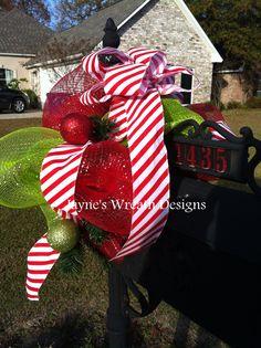 Mailbox swag Christmas Wreaths, Merry Christmas, Christmas Decorations, Christmas Ornaments, Christmas Stuff, Holiday Decor, Christmas Ideas, Fall Mailbox Decor, Mailbox Covers